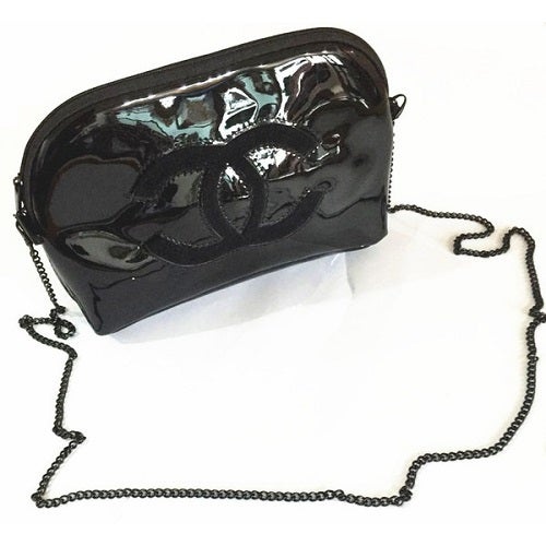 Image of Chanel Beaute Vip Gift Cosmetics Large Makeup Black Chain Bag - RARE