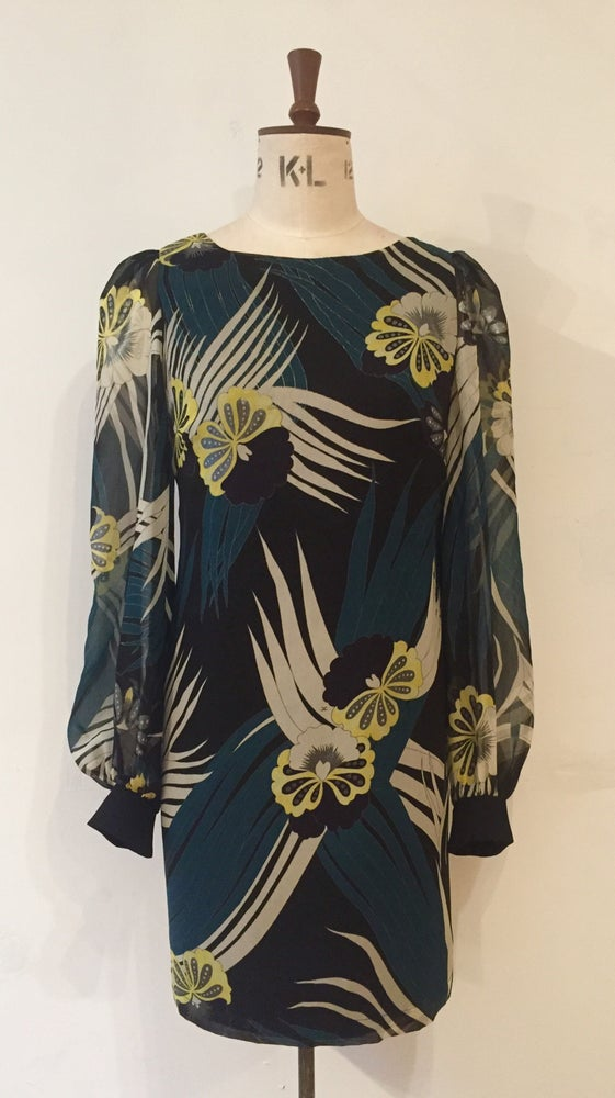 Image of Agatha silk print bell sleeve dress