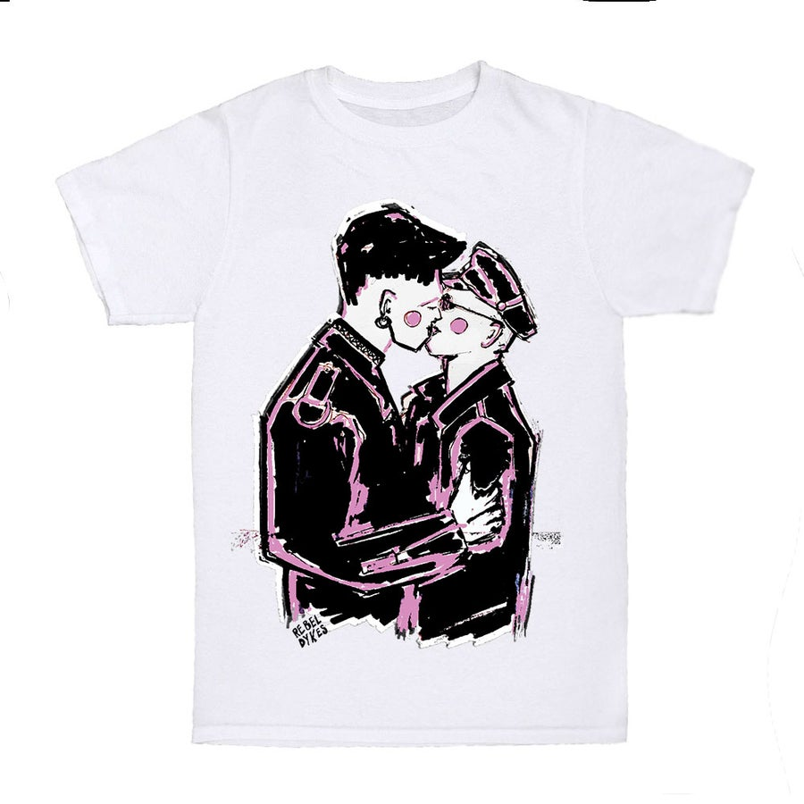"Image of LIMITED EDITION OFFICIAL REBEL DYKES WHITE ""KISS"" T-SHIRT"