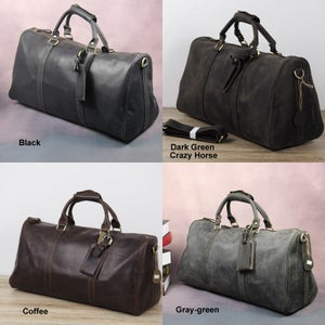 Image of Handmade Vintage Leather Duffle Bag / Travel Bag / Luggage / Gym Bag / Weekend Bag #N66M