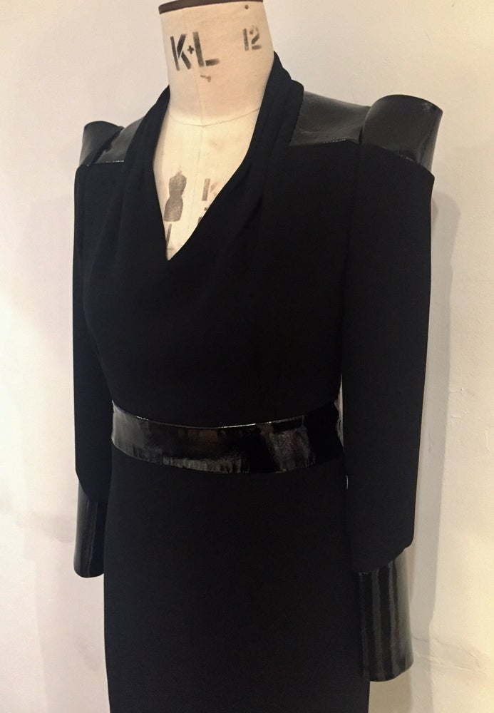 Image of Nexus leather and crepe dress
