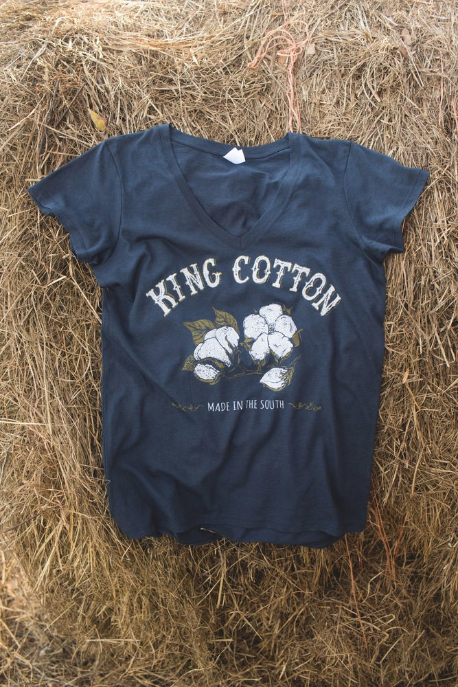 Image of Adult King Cotton V Neck Short Sleeve Tee