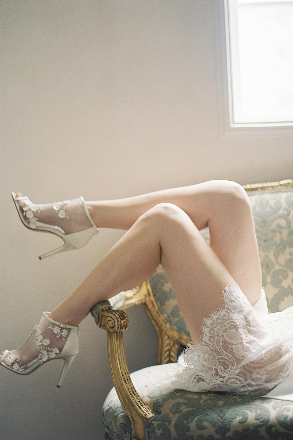 Image of Boudoir Bridal Lace Robe in off-white