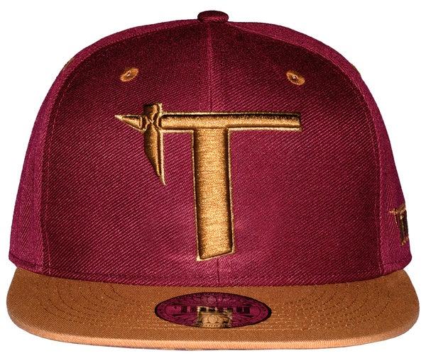 Image of Tatau Tapa Snap Back Plain Front Burgundy/Caramel