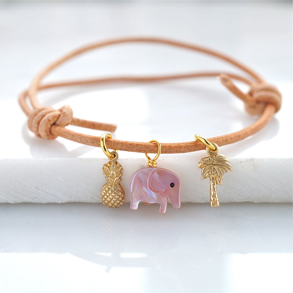 Image of Pink elephant ,pineapple and palm tree leather bracelet