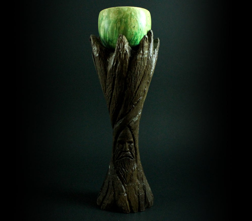 Image of Lap chalice in carved walnut and hand dyed box elder burl