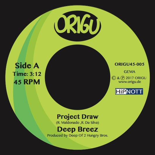 "Image of PRE-ORDER: 7"" Deep Breez: Project Draw b/w Hammer feat. P.so, Jise One & DJ Static (ORIGU45-005)"