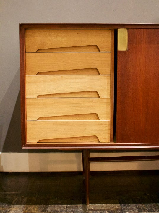 Image of Sideboard with Internal Drawers & Brass Details, Italy 1950s