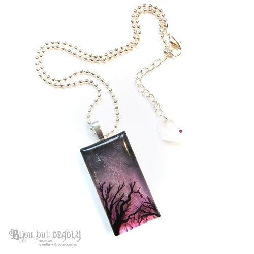 Image of Milky Way Resin Art Pink Pendant