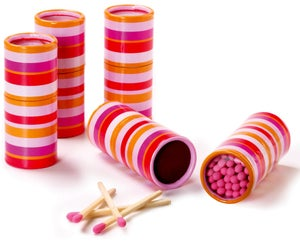 Image of 100 Pack Tube Matches • Pink Stripe