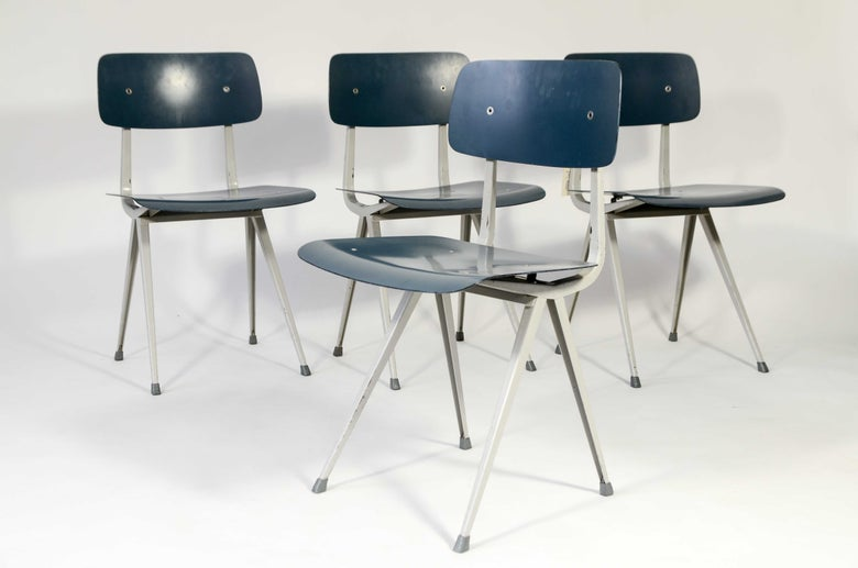 Image of Friso Kramer Result chairs Ahrend De Cirkel Petrol blue rare early production