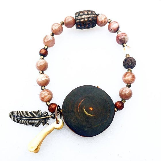 Image of Shamanic ~ Peach Moonstone with Copper feather and closure, bone, volcanic fire rock and Opalite