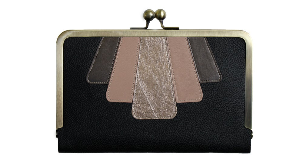Image of Hold All Leather Applique Wallet in Black, Gold, Pale & Gunmetal