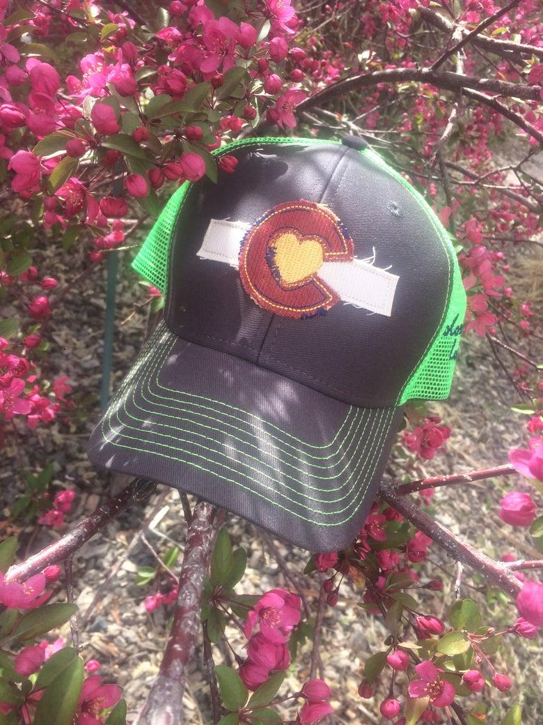 Image of Colorado Love Trucker Hat- Neon Green