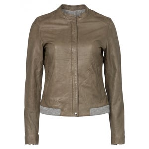 Image of Leather jacket - olive green