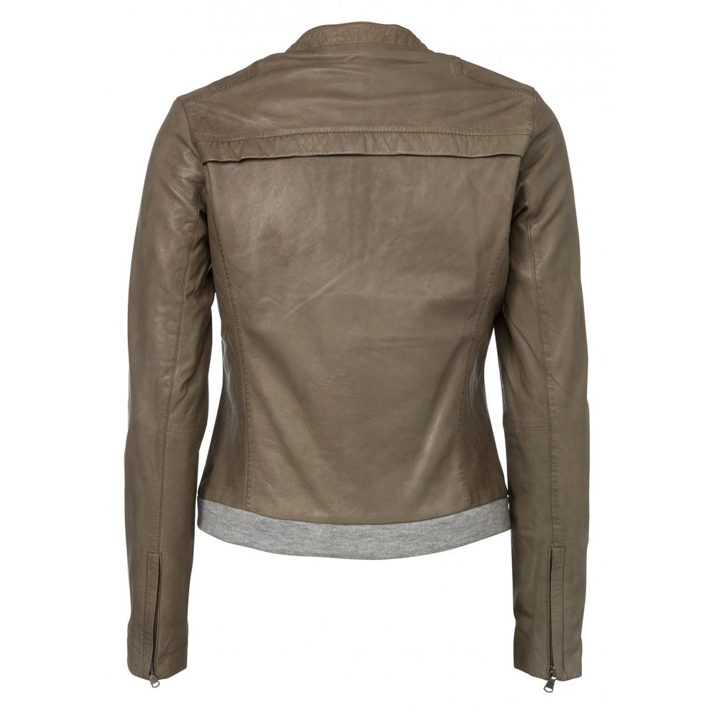 Image of Leather jacket - olive green
