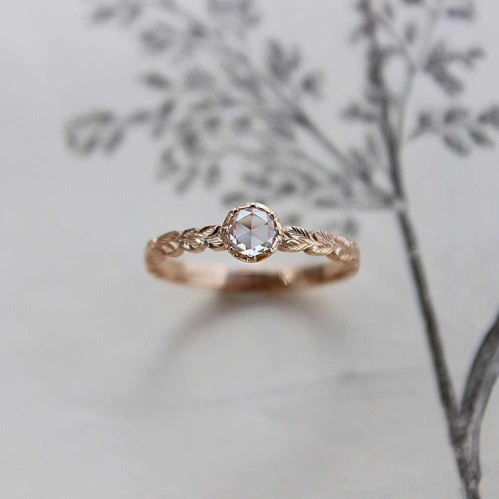 Image of *NEW* 18ct Rose gold 4.1mm Rose cut diamond ring (IOW61)