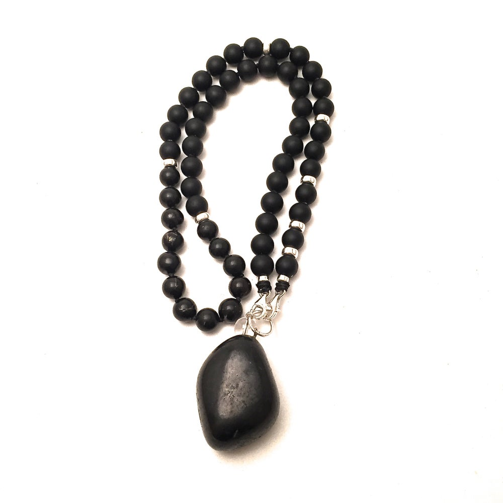 Image of Infinite Purpose Mala. Onyx & OOAK Shungite  New!