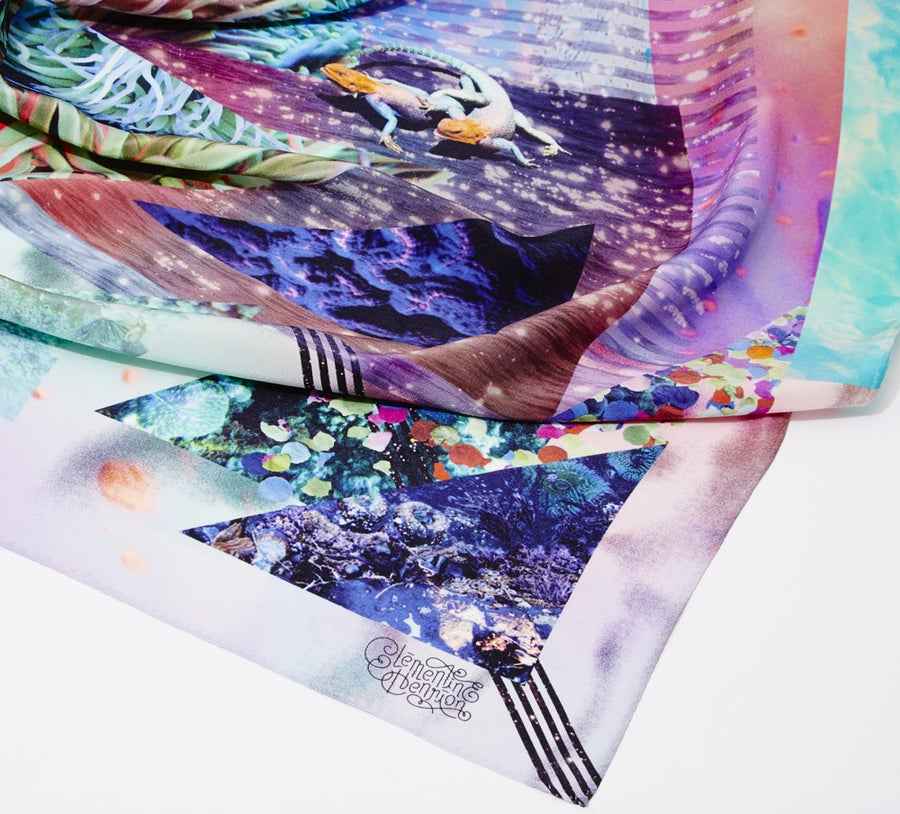 "Image of ""AQUA EMPYREAN"" / SILK SCARF 120x120cm"
