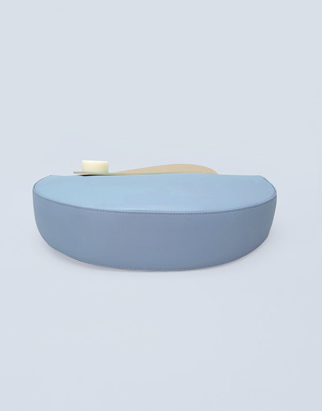 Image of Half Moon Clutch - LIGHT BLUE/ TAN