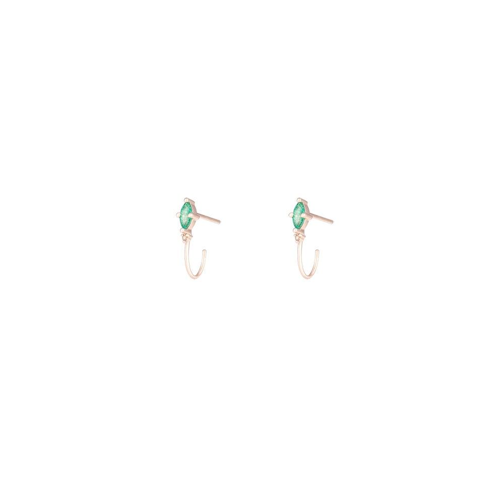 Image of Emerald Marquise Mini Hoop Earring