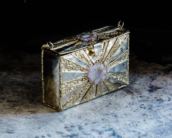 Image of Amethyst Brass Sunburst Rectangular Clutch