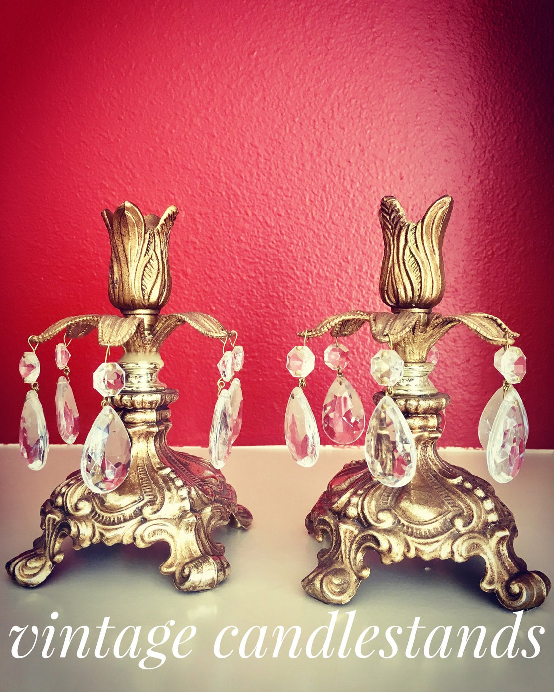 Image of Pair of vintage boho candlestands