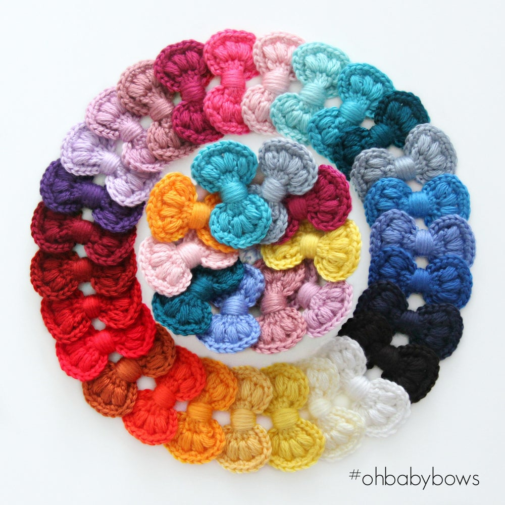 Image of Hand Crochet Yarn Bow Clips - 27 Assorted Colours *SPECIAL INTRODUCTORY PRICE*