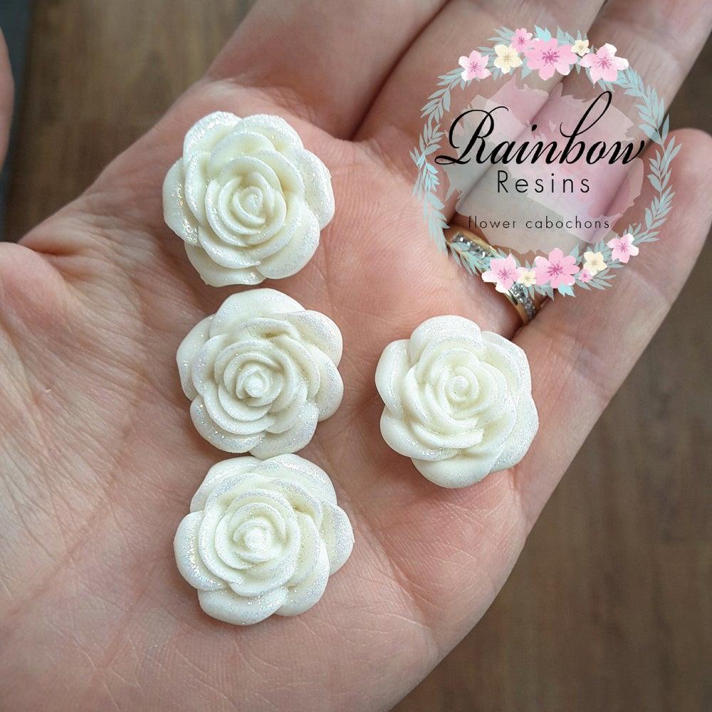 Image of Sparkly glitter white roses x 4