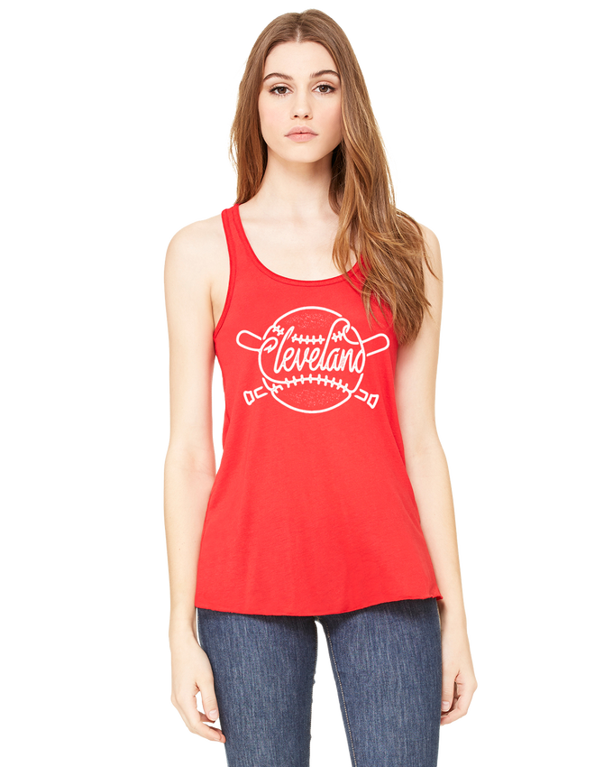 Image of Cleveland Baseball Ladies Red Tank