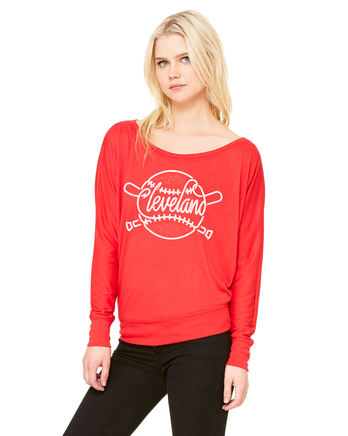 Image of Cleveland Baseball ladies red long sleeve shirt