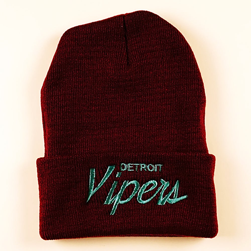 Image of Detroit Vipers Maroon Script Beanies