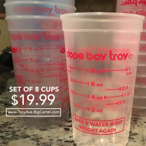 Image of DOPE BOY TROY BAKE AND WATER WHIP WEIGHT AGAIN PYREX CUPS