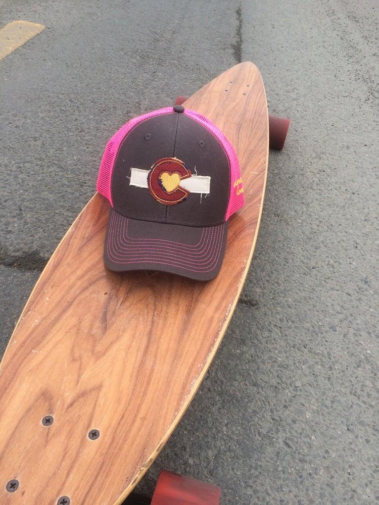 Image of Colorado Love Trucker Hat- Grey/ Pink