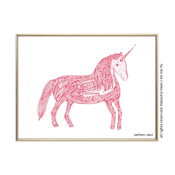 Image of pink unicorn_ A4