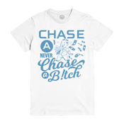 Image of Chase a Check White Tshirt - Coumbia Blue Print