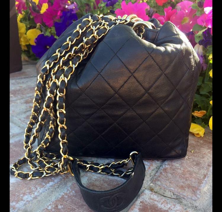 Image of Vintage Chanel Black Lambskin Quilted Bucket Bag