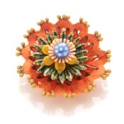 Image of Frida flower brooch - green & orange