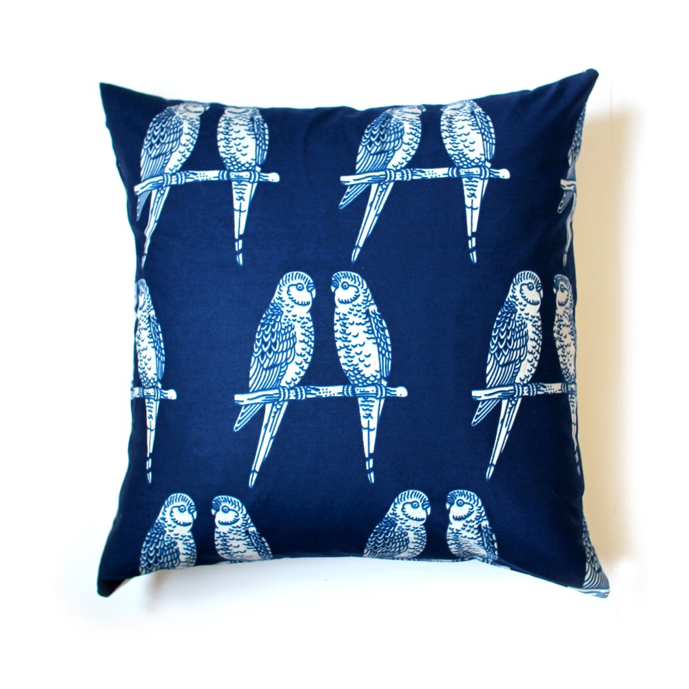 Image of Large Budgie cotton cushion cover