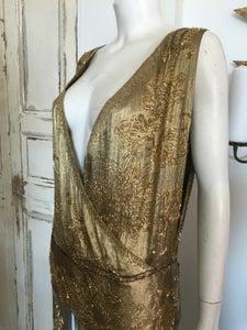 Image of Couture low cut gold lamé 1920s dress