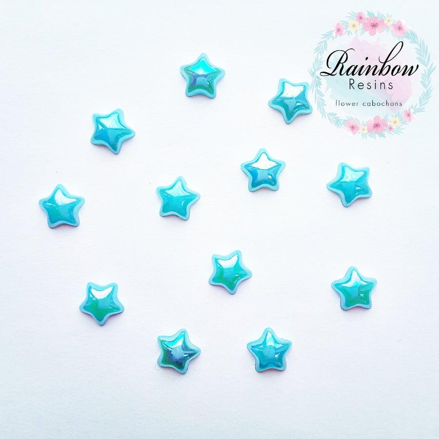 Image of Baby blue 12mm ab flatback stars x 12
