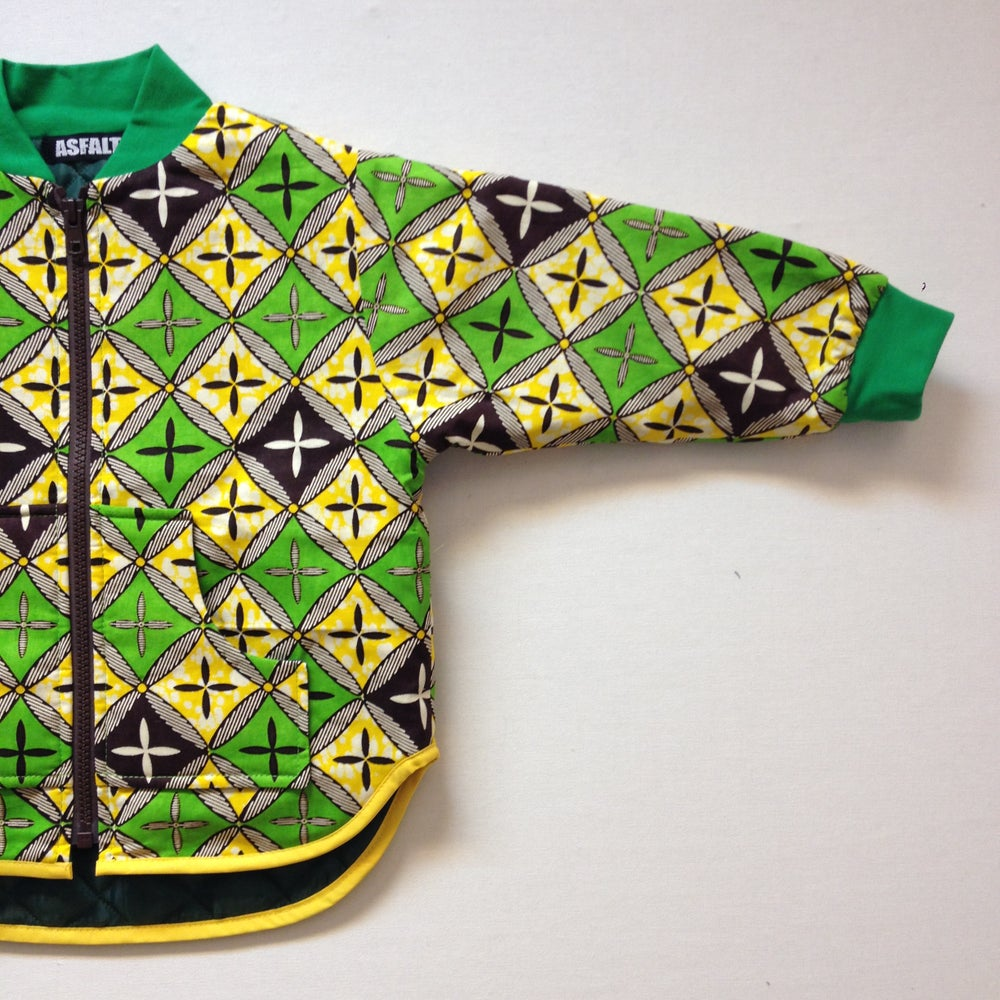 Image of ASFALT kids termojakke med gul/grønne tern print, 3-8 år