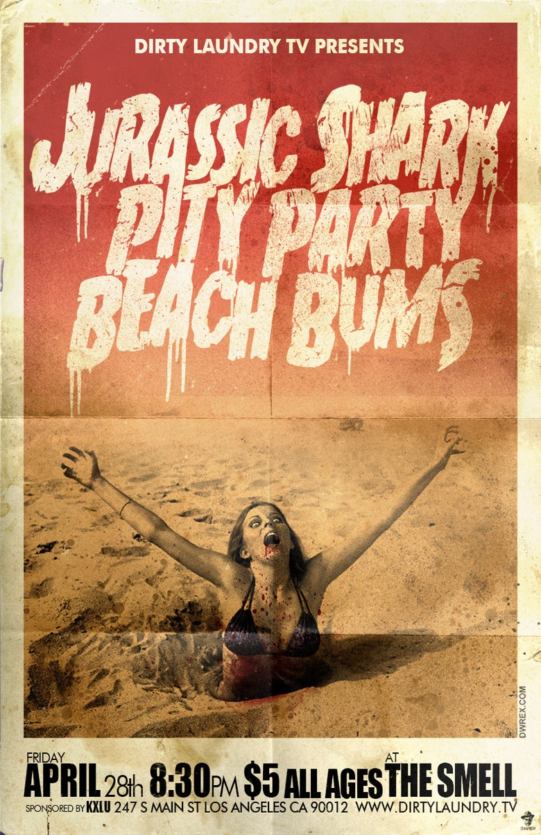 Image of JURASSIC SHARK, PITY PARTY AND BEACH BUMS AT THE SMELL POSTER