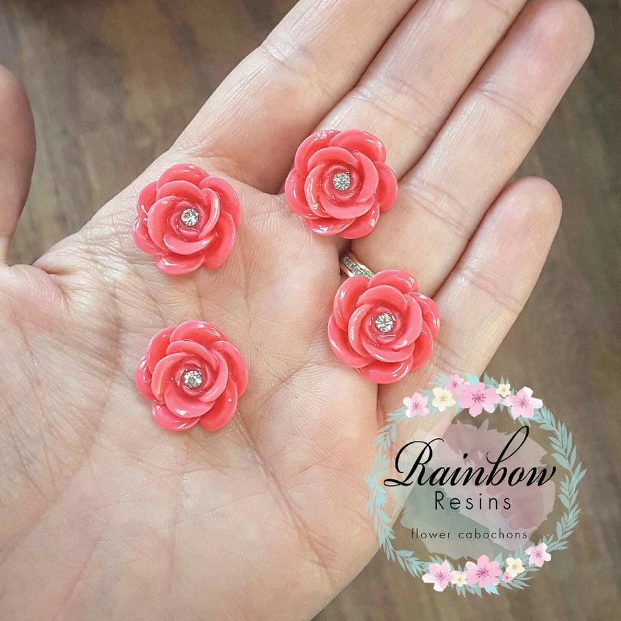 Image of Dusky pink matt diamante roses x 4