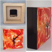 Image of Abstract Art Desk Clock - Orange and Gold