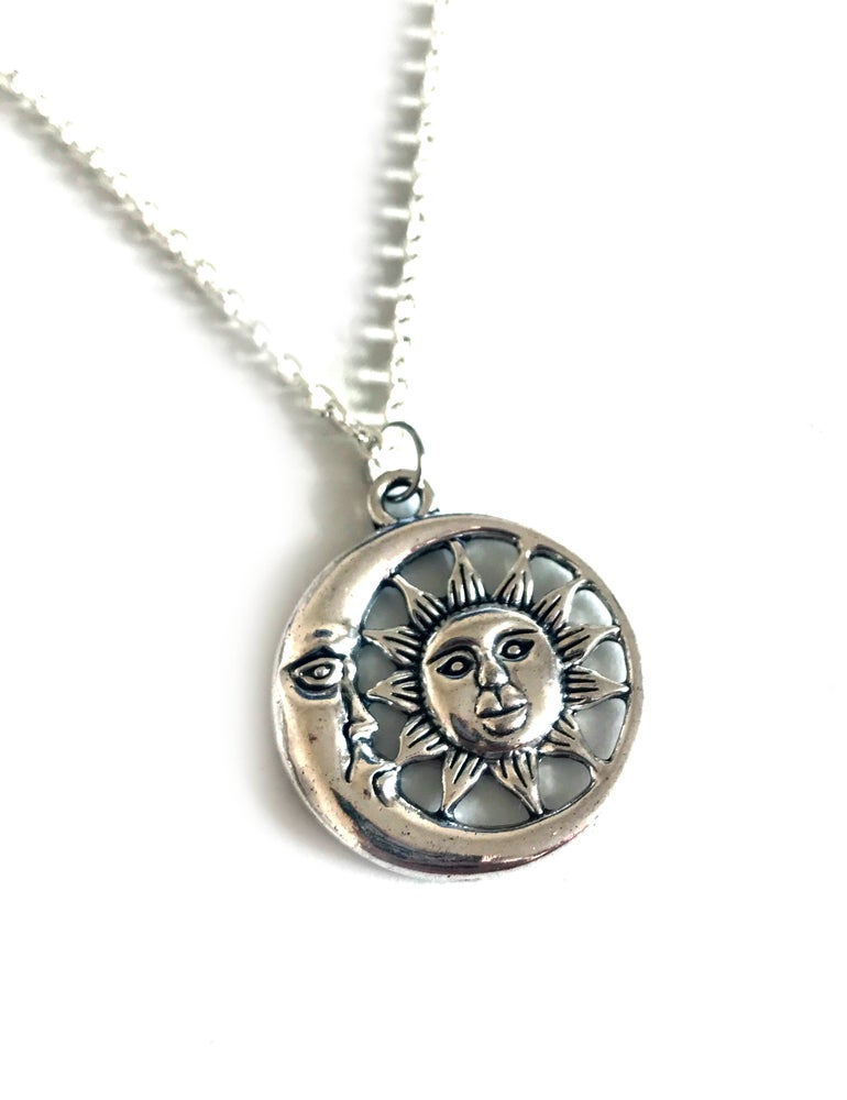 Image of Silver Sun and Moon Necklace
