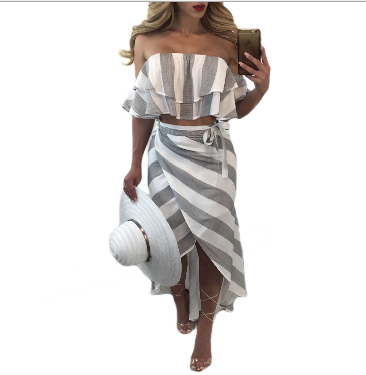 Image of Irregular stripe two-piece outfit