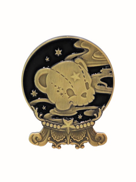 Image of Kuma's Crystal Ball Brooch · Black x Brass
