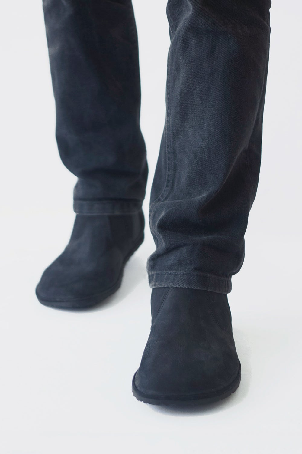 Image of Chelsea boots in Black nubuck leather