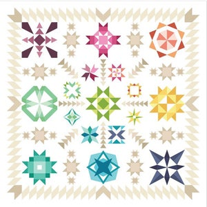 "Image of Fresh Lemon Quilts Summer Sampler 2017 ""Summer Star Medallion"" Ombré bundle"